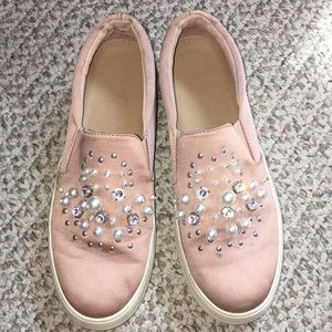 Adorable diamond and pearl slip on shoes